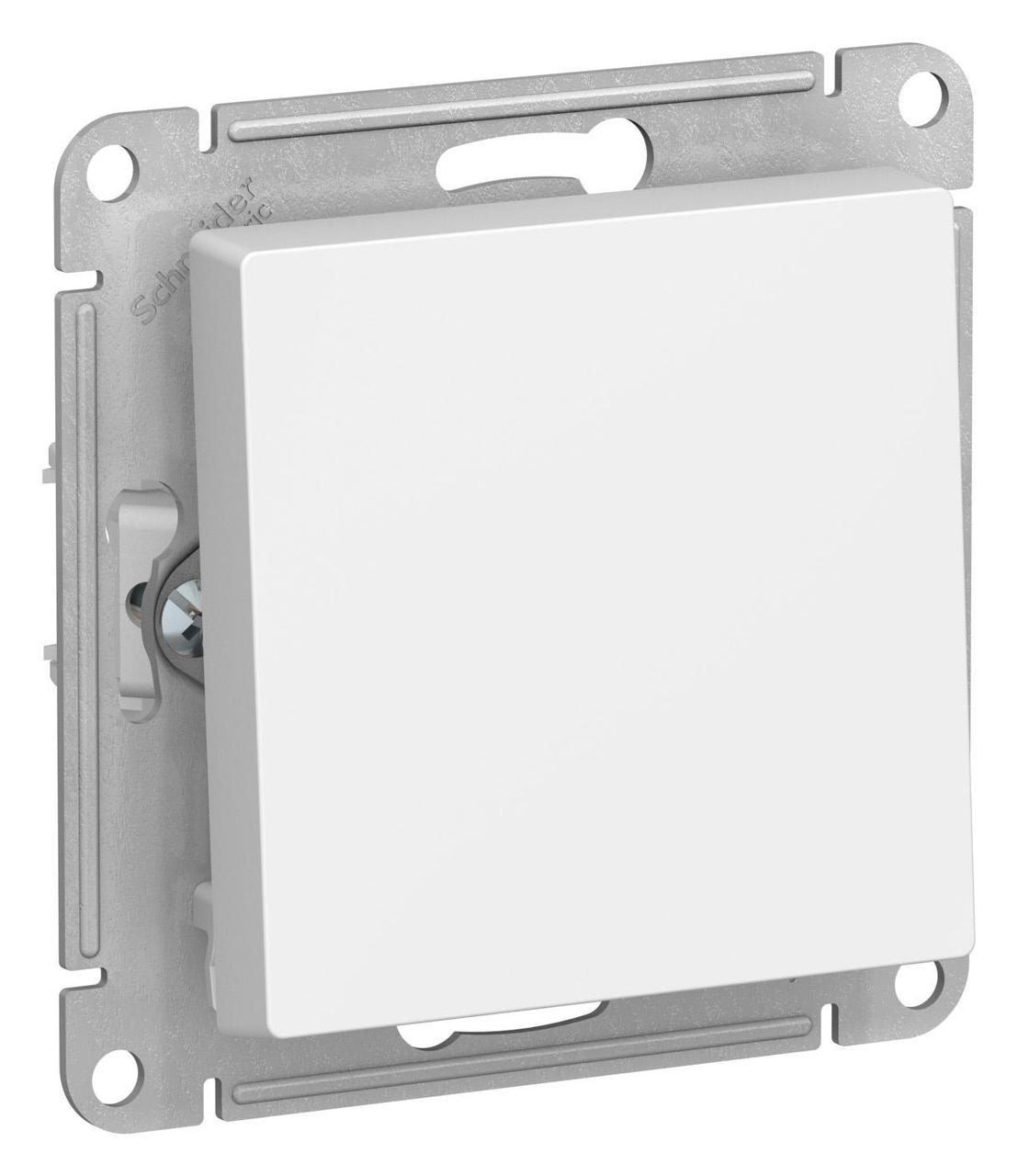 Выключатель 1-клавишный; кнопочный , Белый, серия Atlas Design, Schneider Electric