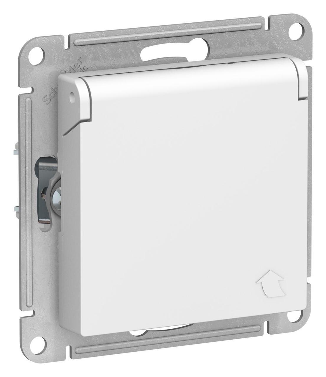 Розетка 1-ая электрическая , с заземлением и крышкой, защитными шторками , Белый, серия Atlas Design,