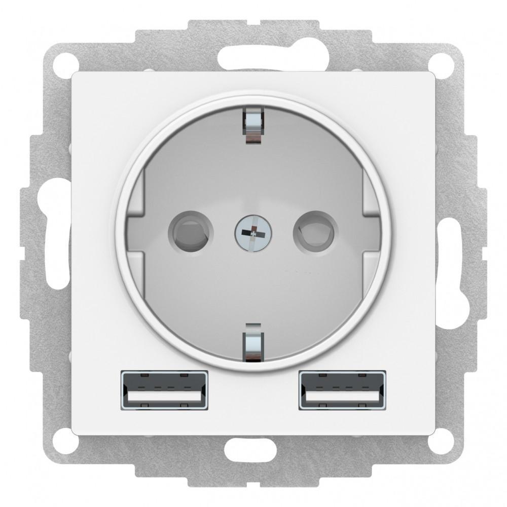 Розетка 1-ая электрическая , с заземлением, c USB , Белый, серия Atlas Design, Schneider Electric