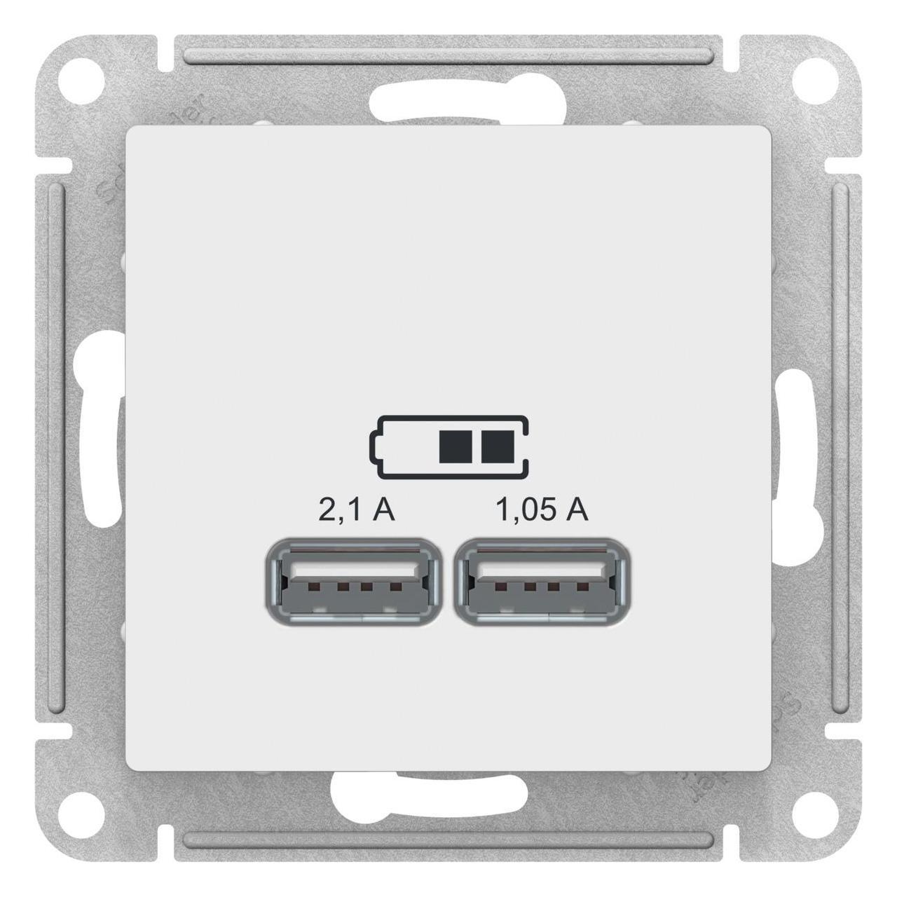 Розетка USB 2-ая 2100 мА (для подзарядки) , Белый, серия Atlas Design, Schneider Electric