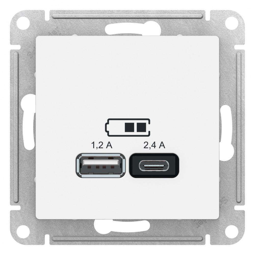 Розетка USB 2-ая тип А+С (для подзарядки) , Белый, серия Atlas Design, Schneider Electric