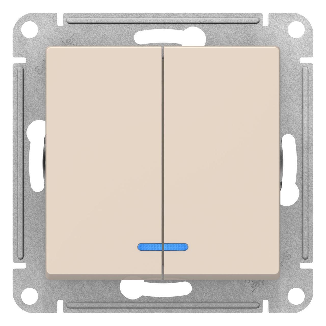 Выключатель 2-клавишный , с подсветкой , Бежевый, серия Atlas Design, Schneider Electric