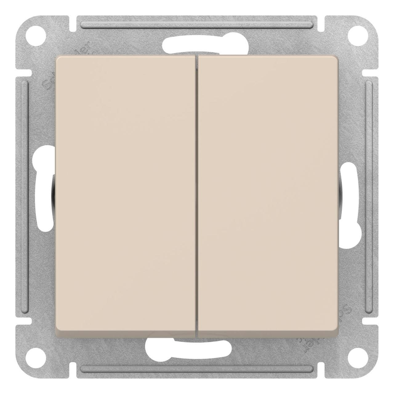 Выключатель 2-клавишный проходной (с двух мест) , Бежевый, серия Atlas Design, Schneider Electric