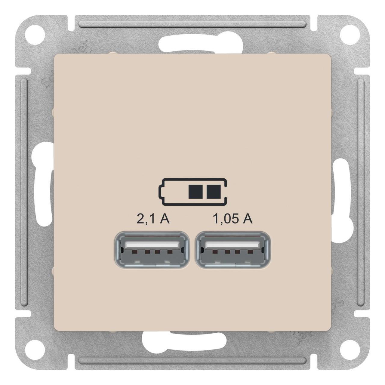 Розетка USB 2-ая 2100 мА (для подзарядки) , Бежевый, серия Atlas Design, Schneider Electric