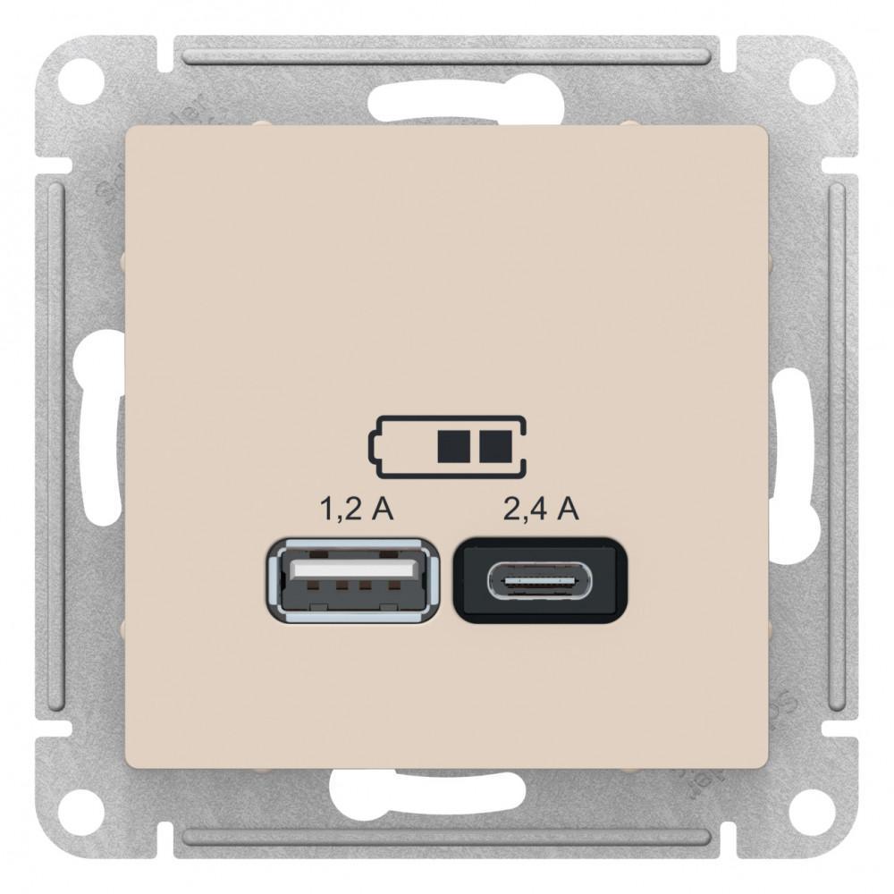 Розетка USB 2-ая тип А+С (для подзарядки) , Бежевый, серия Atlas Design, Schneider Electric