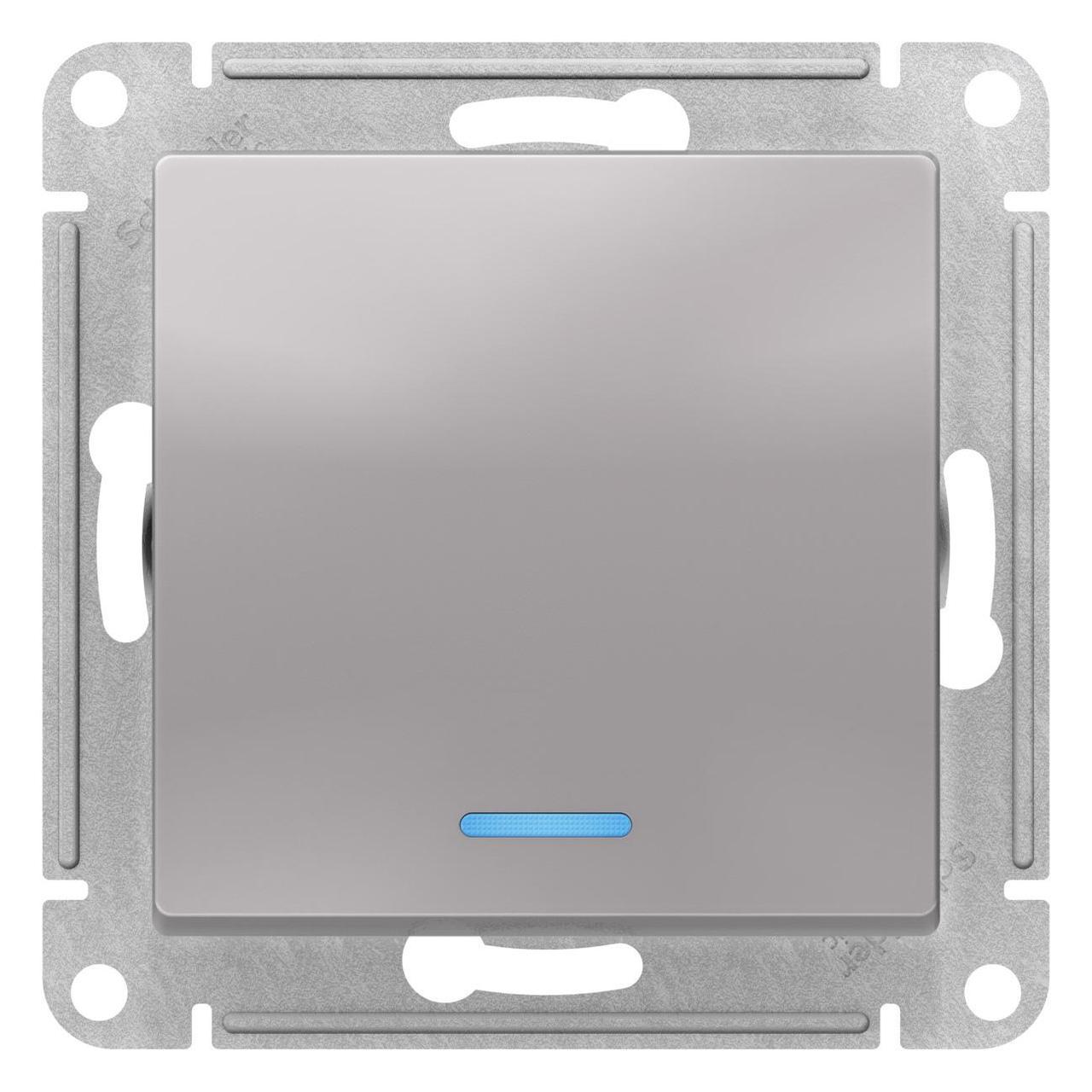 Выключатель 1-клавишный , с подсветкой , Алюминий, серия Atlas Design, Schneider Electric
