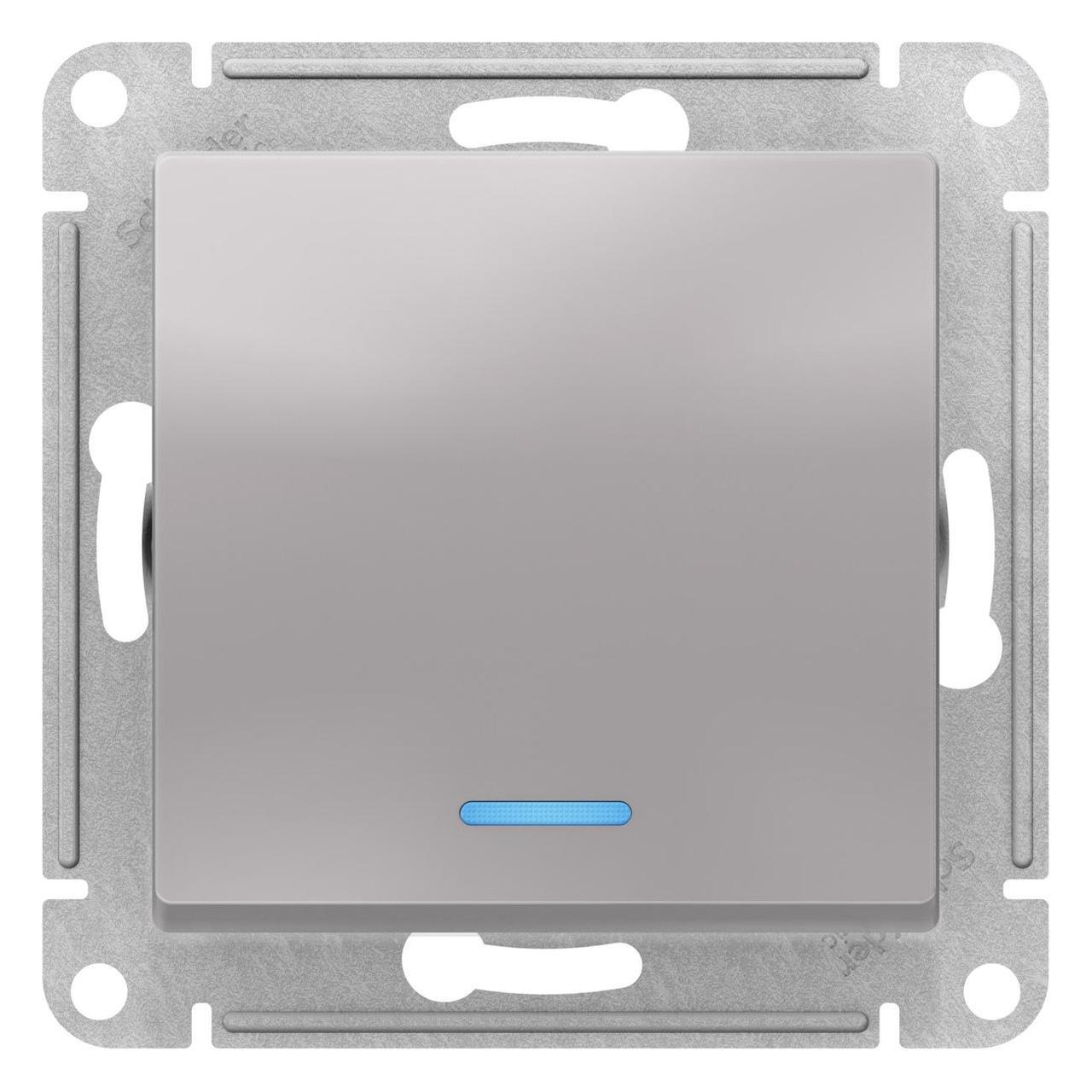 Выключатель 1-клавишный ,проходной с индикацией (с двух мест) , Алюминий, серия Atlas Design, Schneider