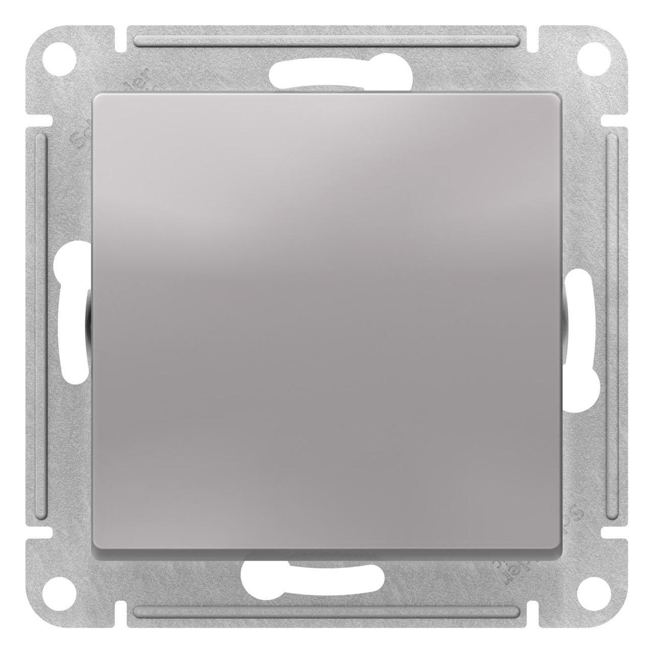 Выключатель 1-клавишный; кнопочный , Алюминий, серия Atlas Design, Schneider Electric