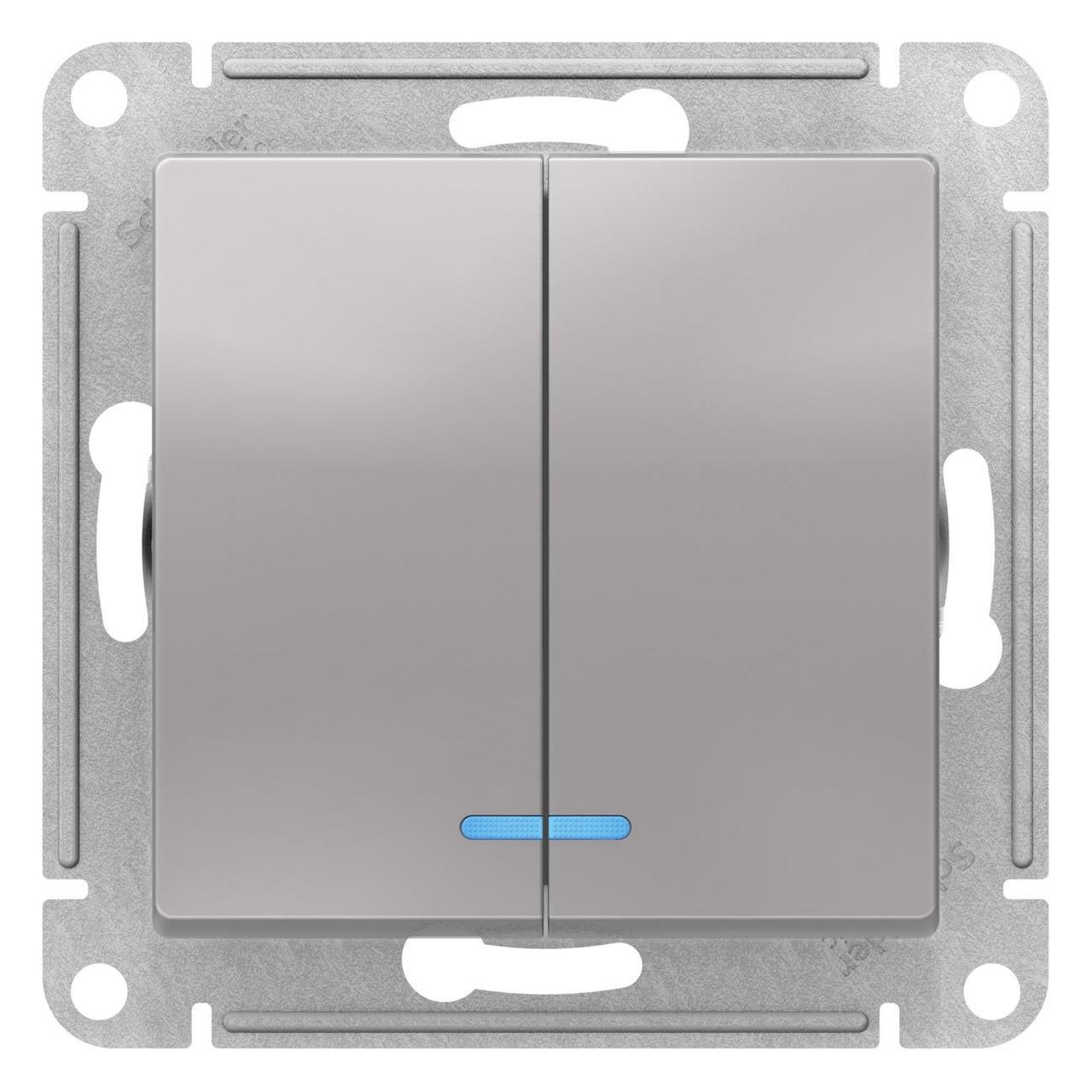 Выключатель 2-клавишный , с подсветкой , Алюминий, серия Atlas Design, Schneider Electric