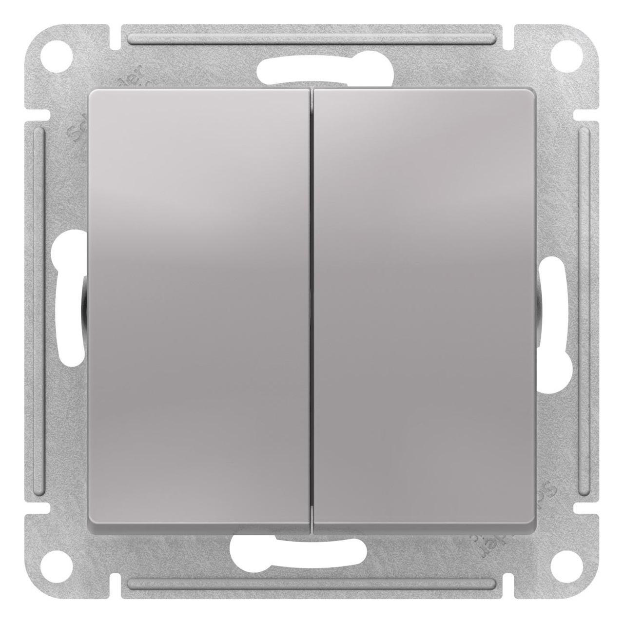 Выключатель 2-клавишный проходной (с двух мест) , Алюминий, серия Atlas Design, Schneider Electric