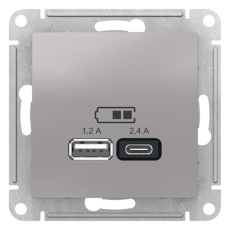 Розетка USB 2-ая тип А+С (для подзарядки) , Алюминий, серия Atlas Design, Schneider Electric