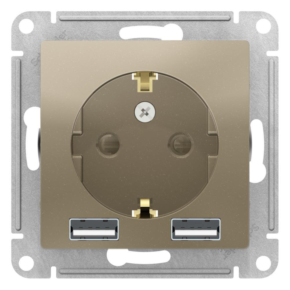Розетка 1-ая электрическая , с заземлением, c USB , Шампань, серия Atlas Design, Schneider Electric