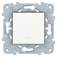 Выключатель 1-клавишный; кнопочный с подсветкой , Белый, серия Unica New, Schneider Electric