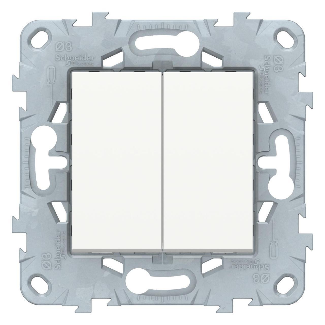Выключатель 2-клавишный , Белый, серия Unica New, Schneider Electric