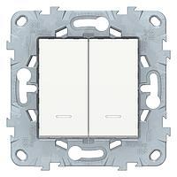 Выключатель 2-клавишный , с подсветкой , Белый, серия Unica New, Schneider Electric
