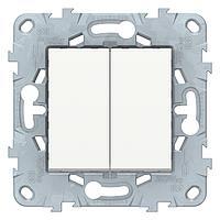 Выключатель 2-клавишный проходной (с двух мест) , Белый, серия Unica New, Schneider Electric