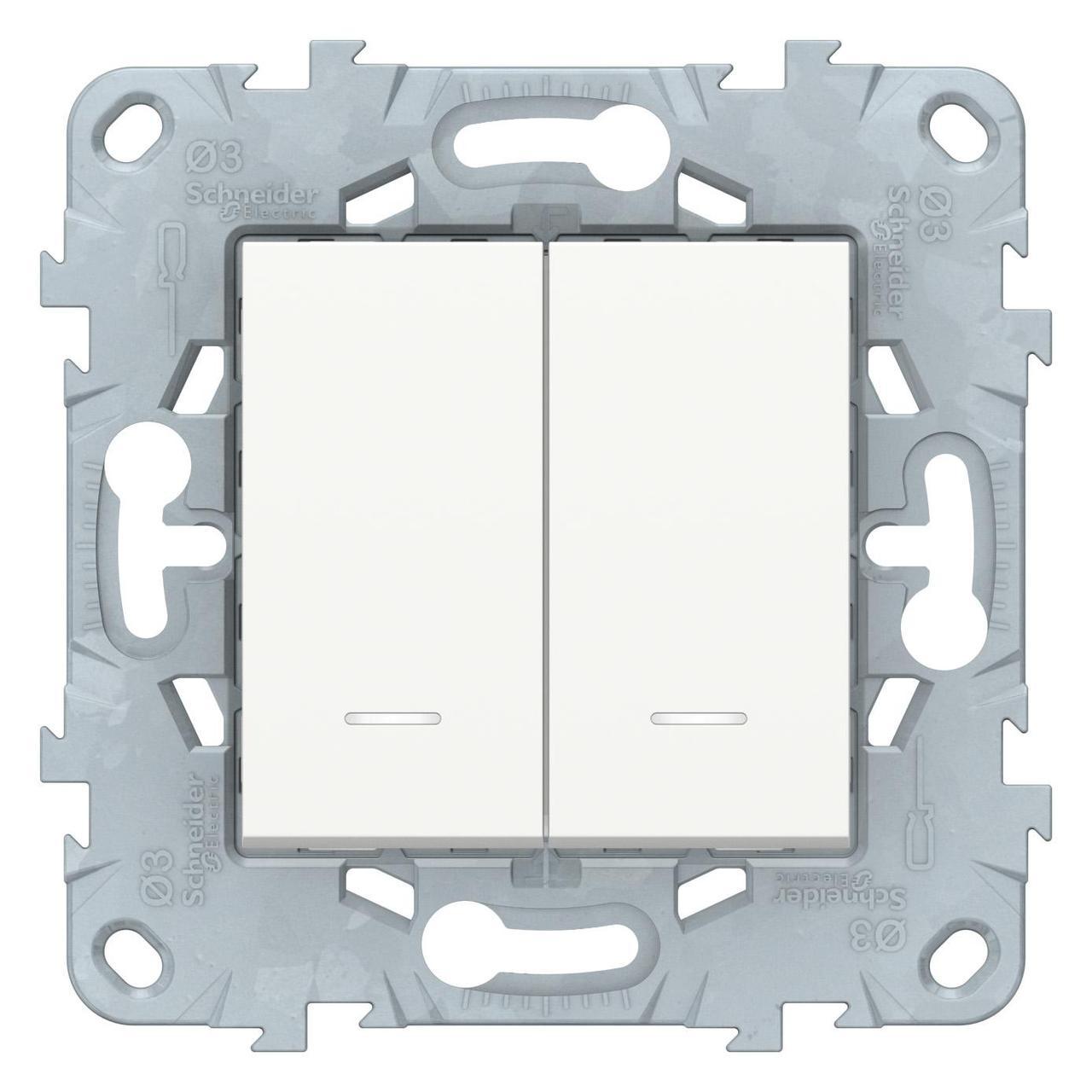 Выключатель 2-клавишный проходной с подсветкой (с двух мест) , Белый, серия Unica New, Schneider Electric