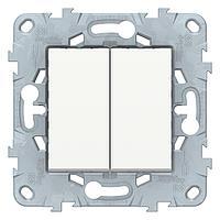 Выключатель 2-клавишный, перекрестный (с трех мест , Белый, серия Unica New, Schneider Electric