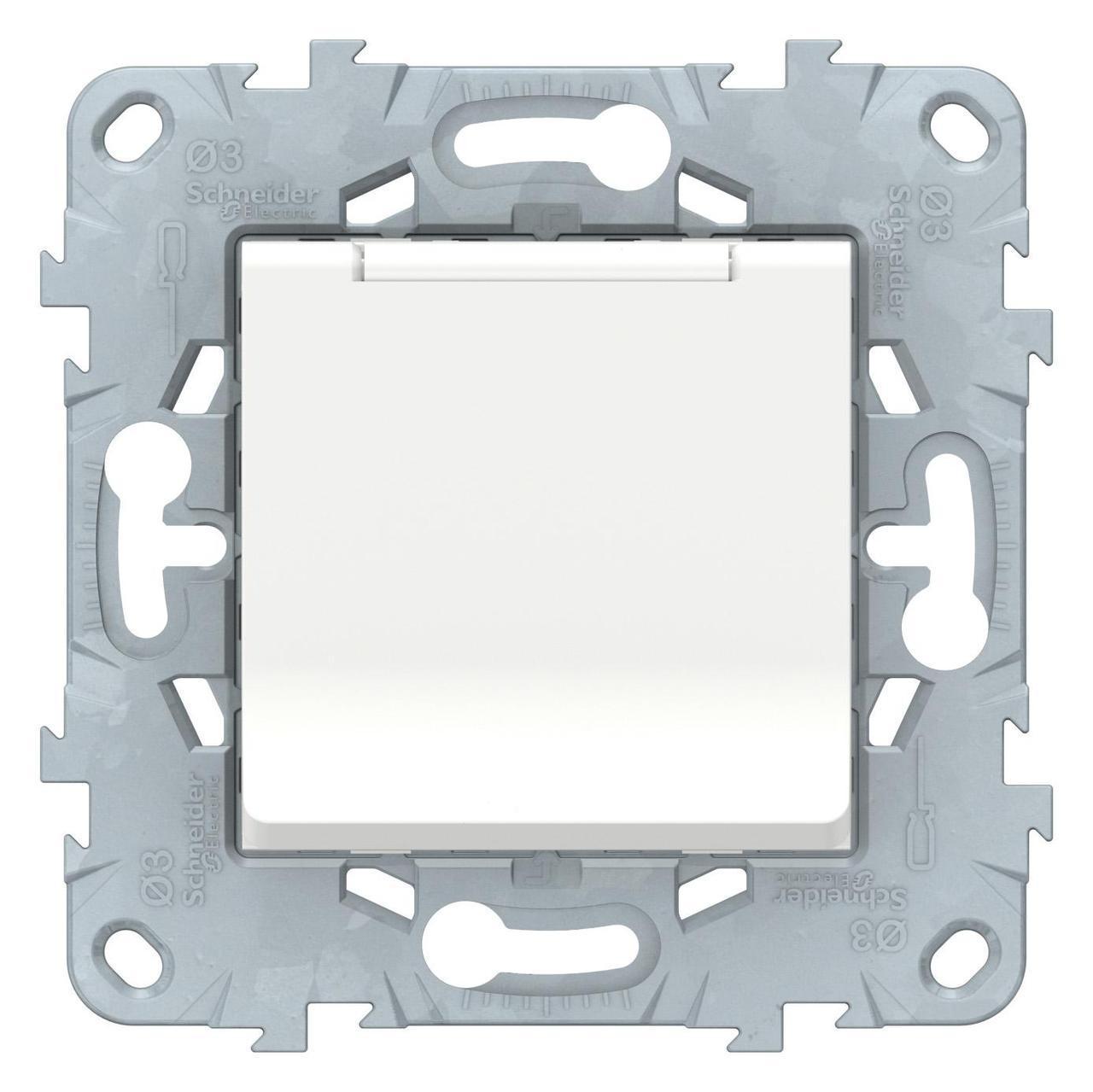 Розетка 1-ая электрическая , с заземлением и крышкой, защитными шторками , Белый, серия Unica New, Schneider Electric