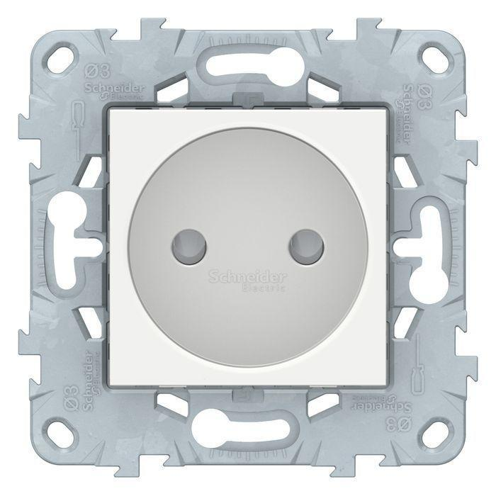 Розетка 1-ая электрическая без заземления с защитными шторками , Белый, серия Unica New, Schneider Electric