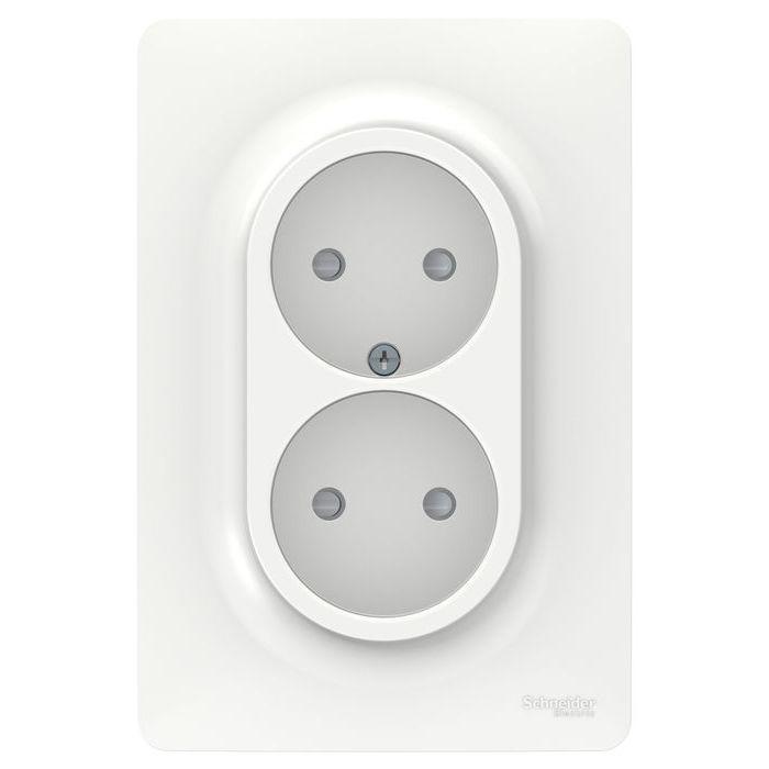 Розетка 2-ая электрическая без заземления с защитными шторками (в сборе) , Белый, серия Unica New, Schneider Electric