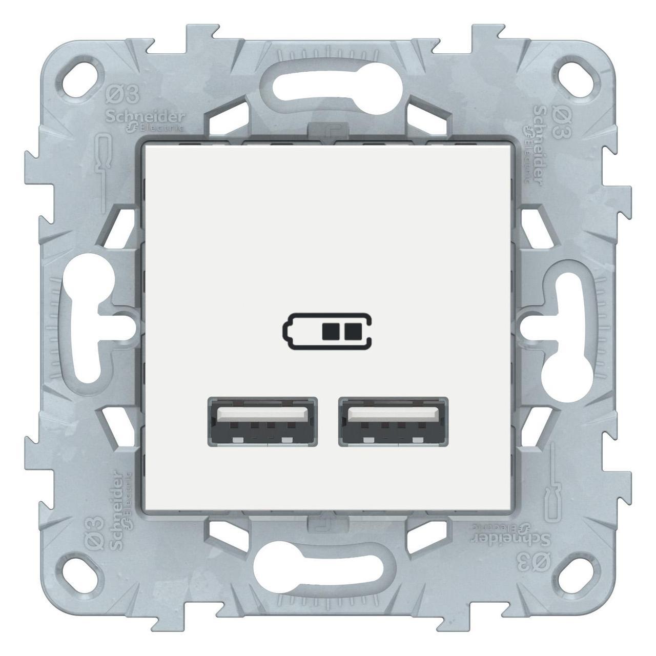 Розетка USB 2-ая (для подзарядки) , Белый, серия Unica New, Schneider Electric