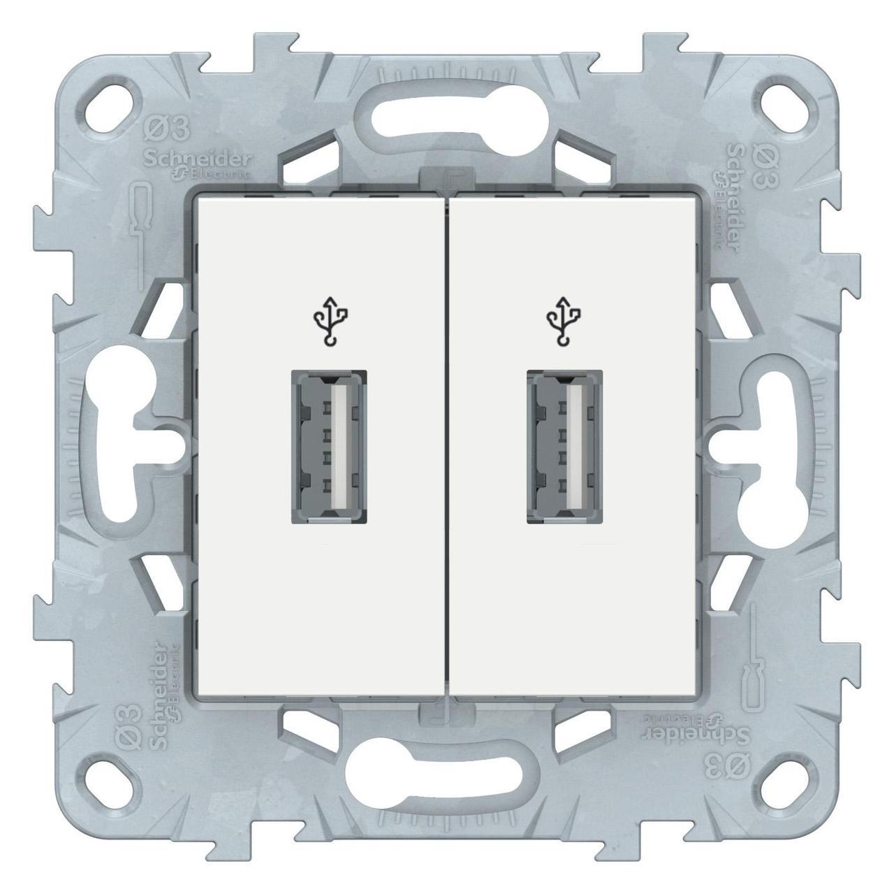 Розетка USB 2-ая , Белый, серия Unica New, Schneider Electric