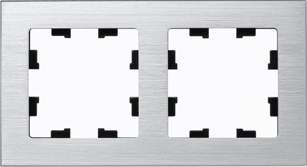 Рамка 2-ая (двойная), Металл Серебро, серия Atlas Design Nature, Schneider Electric