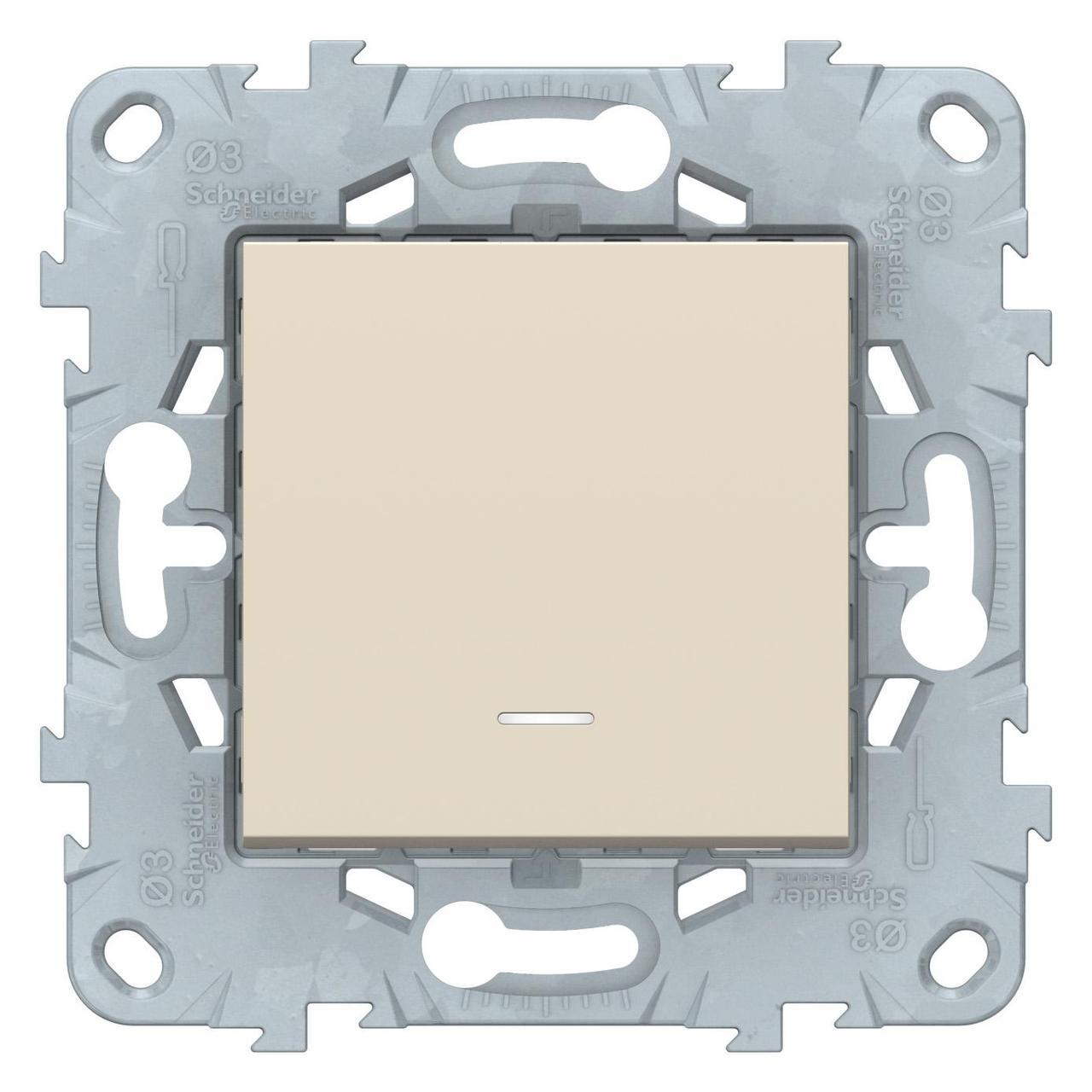 Выключатель 1-клавишный , с подсветкой , Бежевый, серия Unica New, Schneider Electric