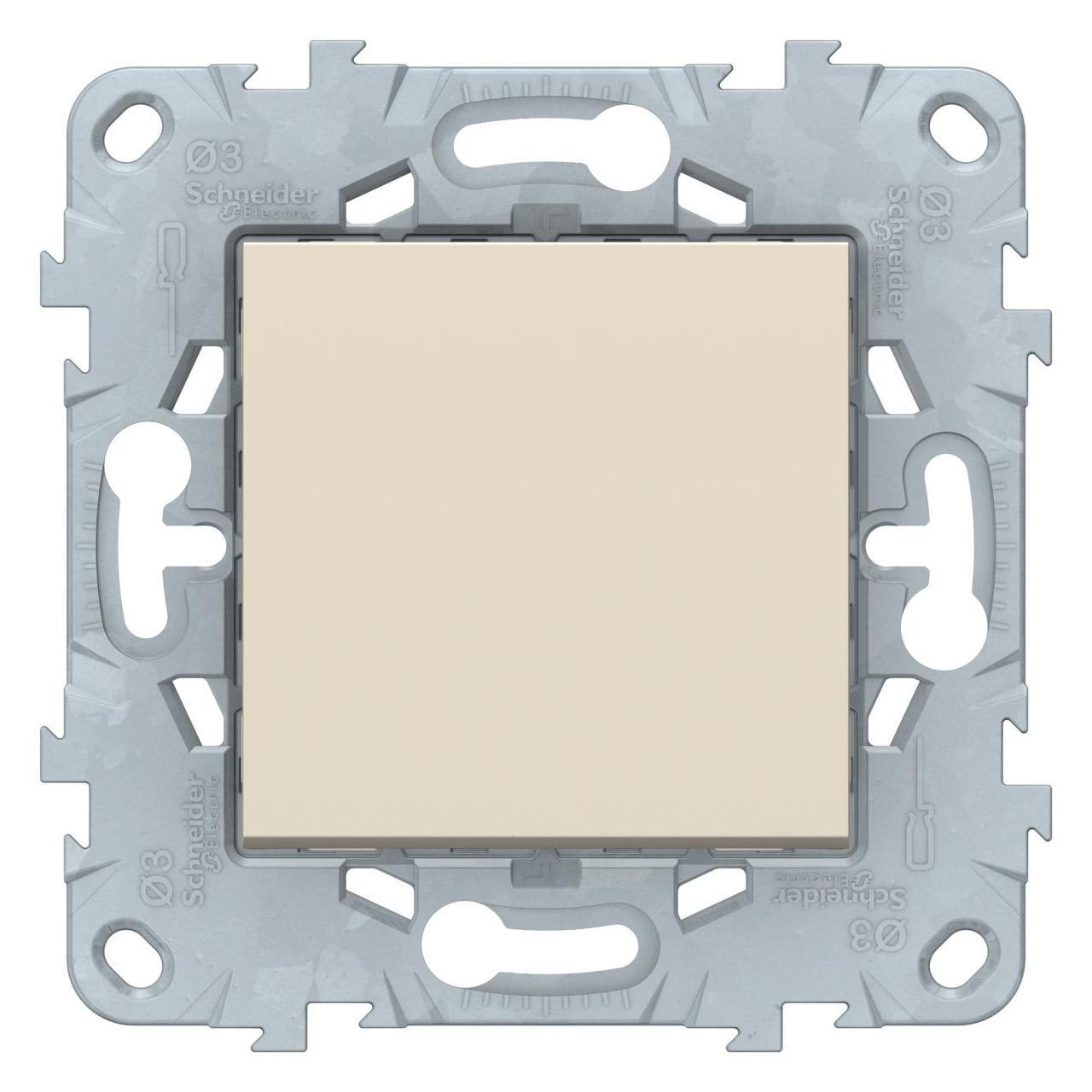 Выключатель 1-клавишный ,проходной (с двух мест) , Бежевый, серия Unica New, Schneider Electric