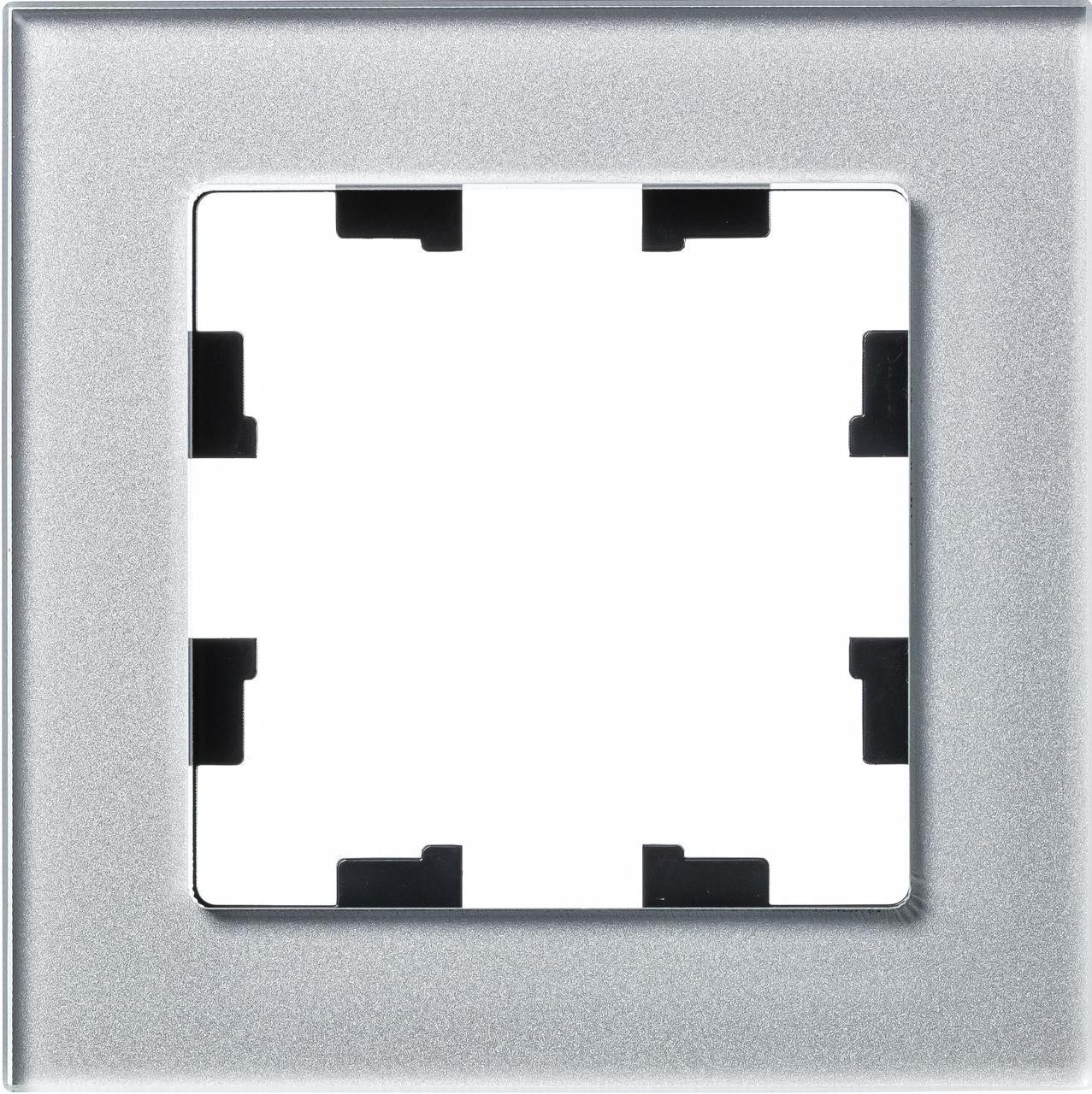 Рамка 1-ая (одинарная), Стекло Алюминий, серия Atlas Design Nature, Schneider Electric