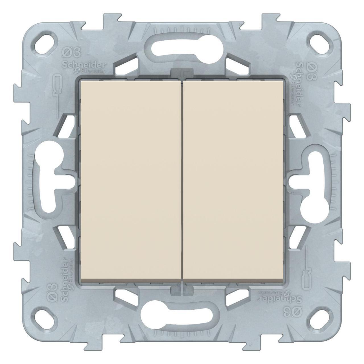 Выключатель 2-клавишный , Бежевый, серия Unica New, Schneider Electric