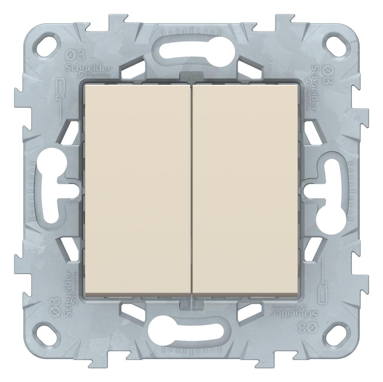 Выключатель 2-клавишный проходной (с двух мест) , Бежевый, серия Unica New, Schneider Electric