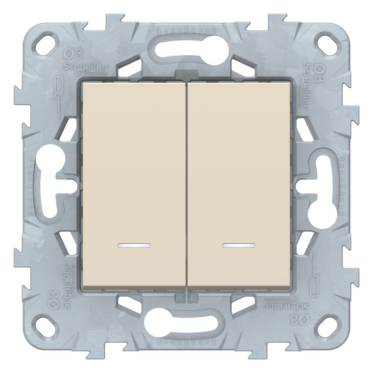 Выключатель 2-клавишный проходной с подсветкой (с двух мест) , Бежевый, серия Unica New, Schneider Electric