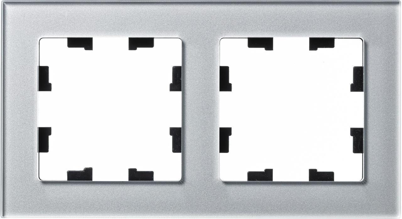 Рамка 2-ая (двойная), Стекло Алюминий, серия Atlas Design Nature, Schneider Electric