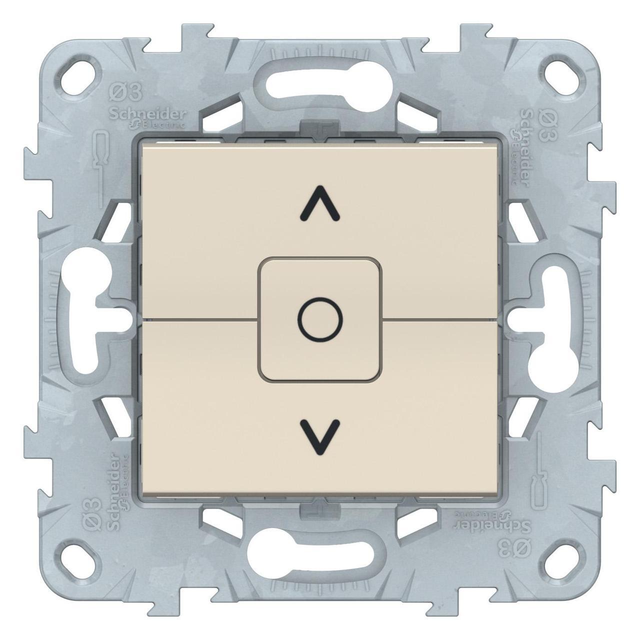 Выключатель для жалюзи (рольставней) с фиксацией , Бежевый, серия Unica New, Schneider Electric
