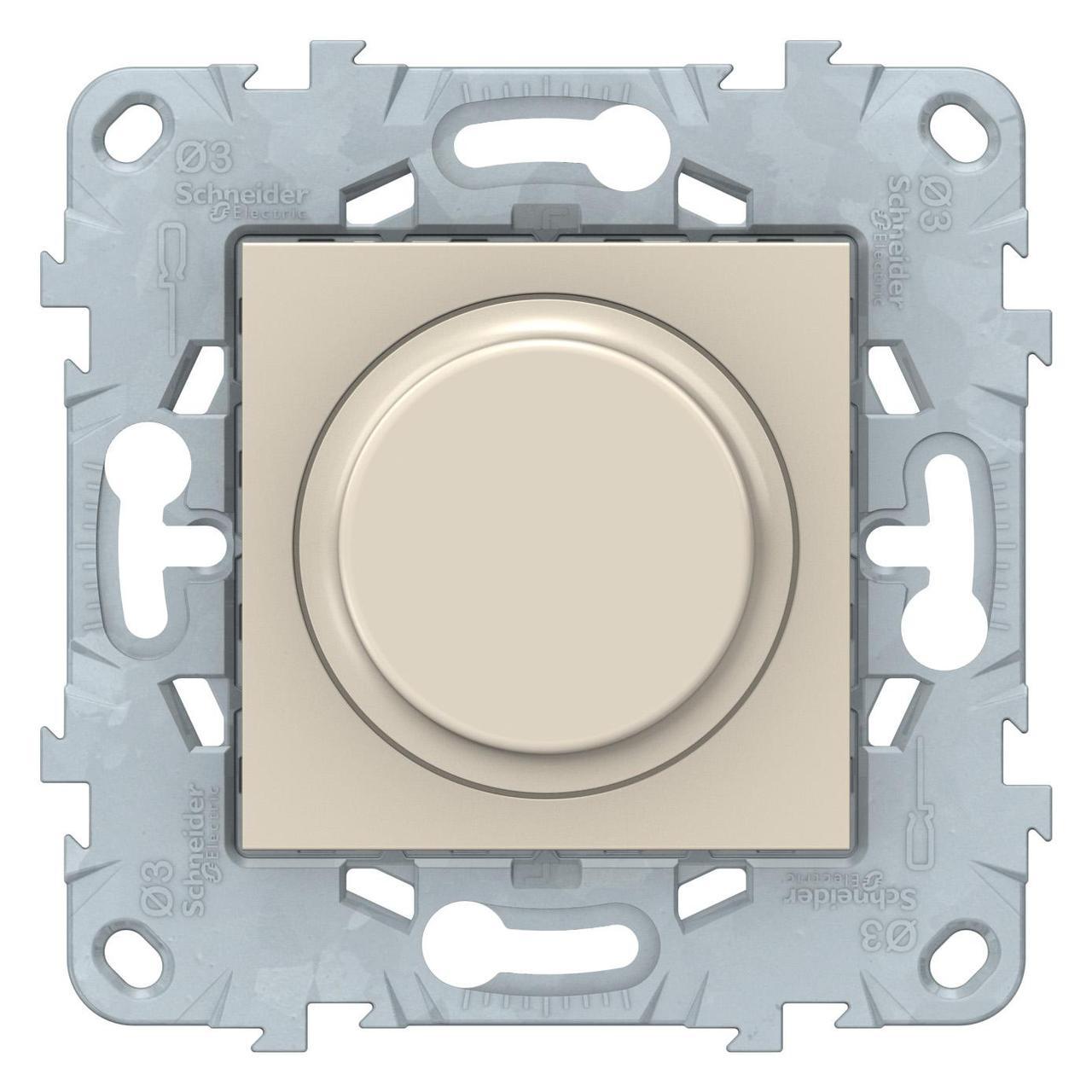 Диммер поворотно-нажимной , 200Вт LED универсальны , Бежевый, серия Unica New, Schneider Electric