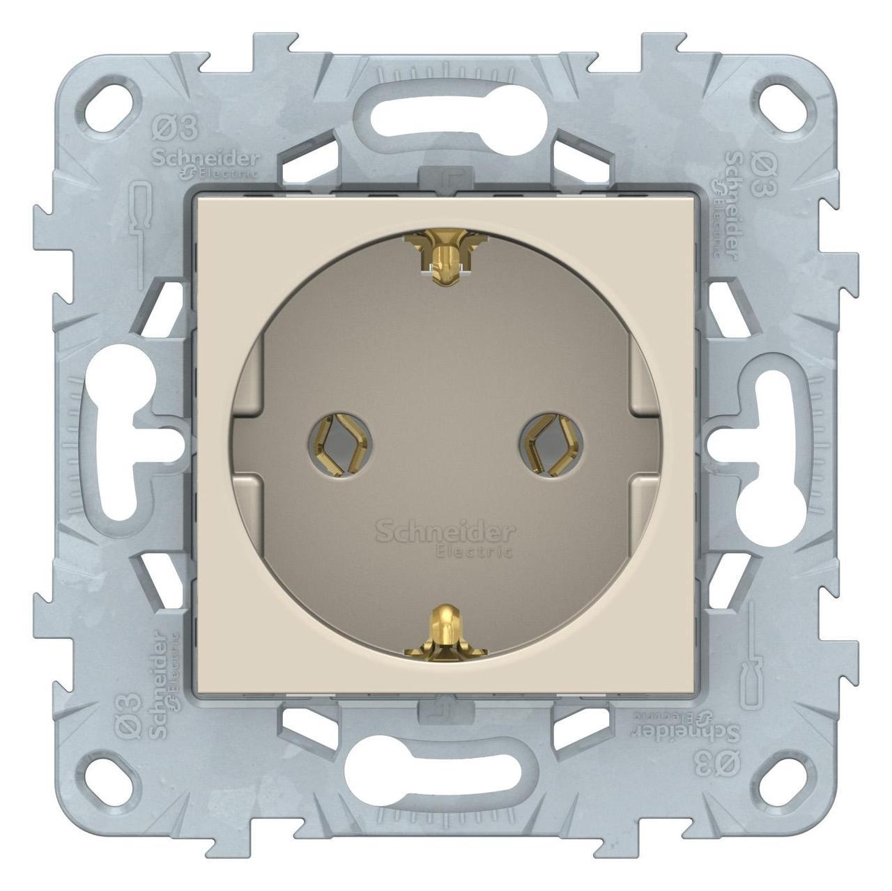 Розетка 1-ая электрическая , с заземлением (безвинтовой зажим) , Бежевый, серия Unica New, Schneider Electric