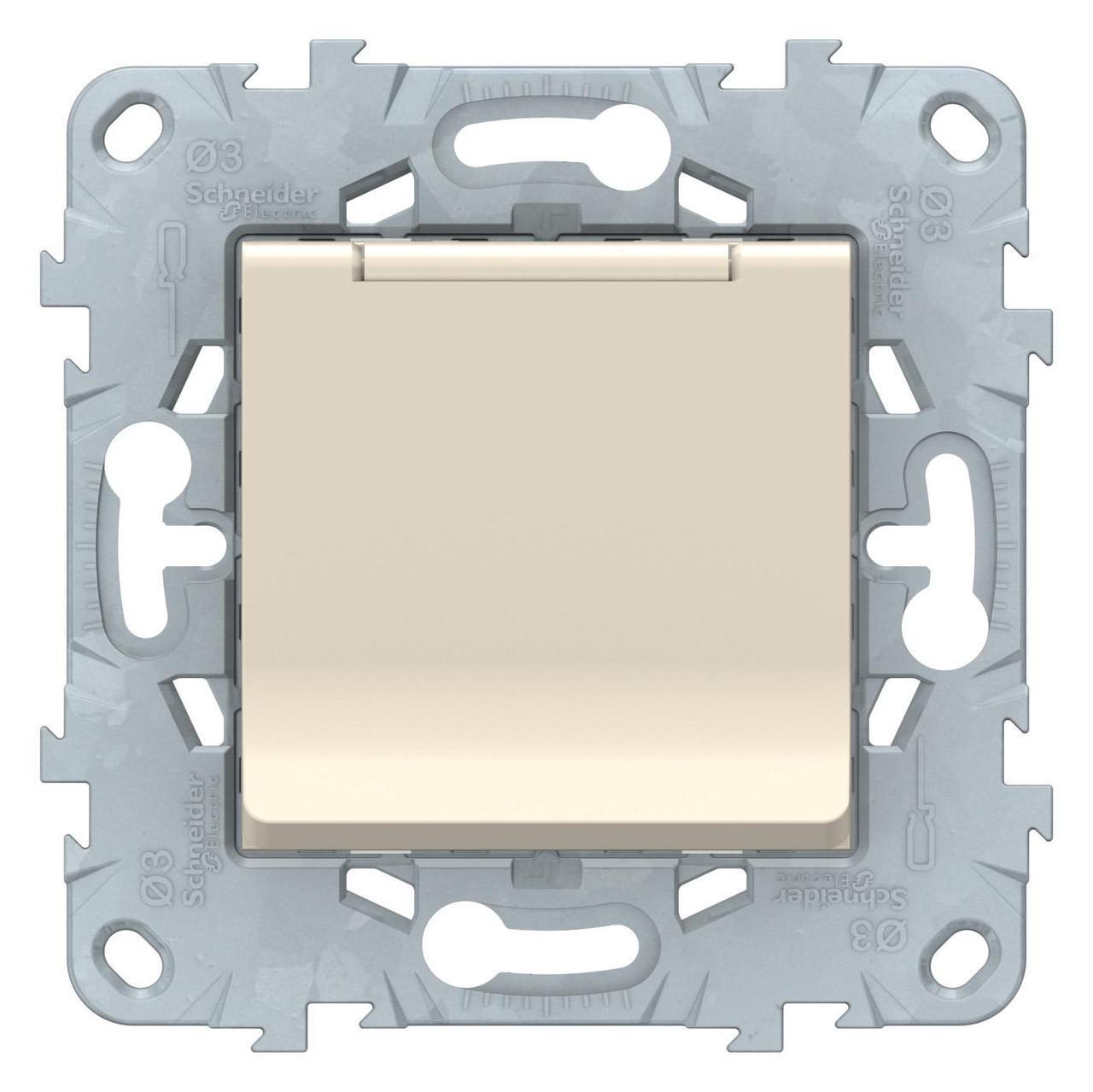 Розетка 1-ая электрическая , с заземлением и крышкой, защитными шторками , Бежевый, серия Unica New, Schneider Electric