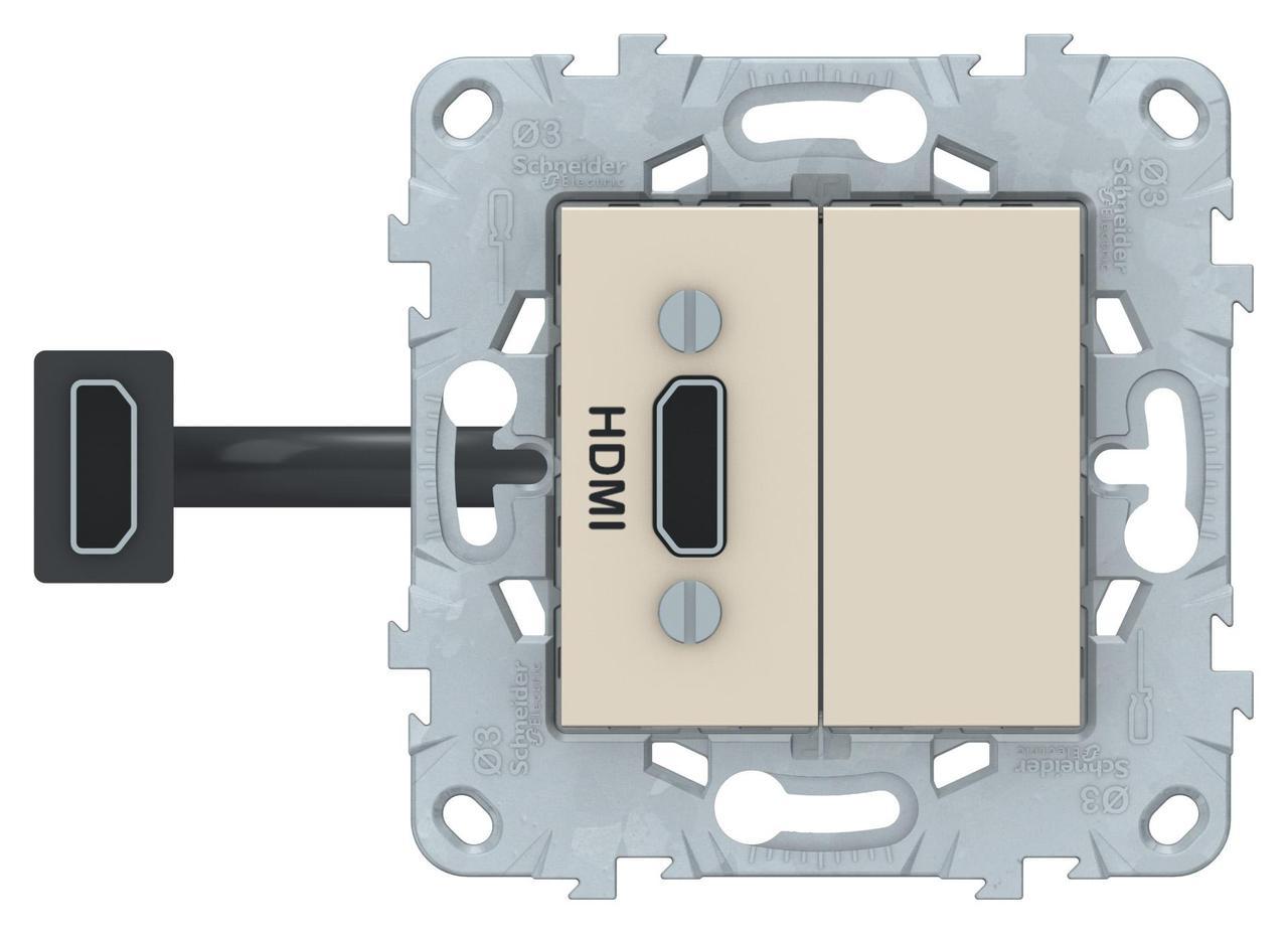 Розетка HDMI , Бежевый, серия Unica New, Schneider Electric