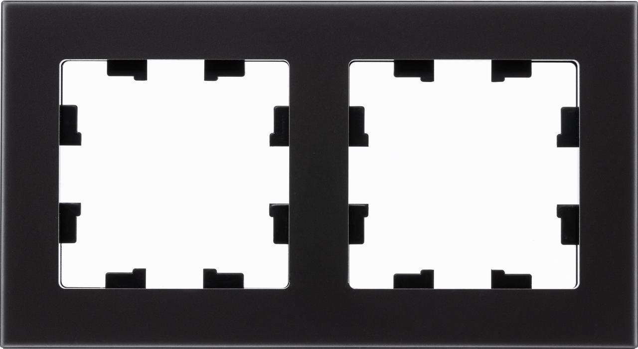 Рамка 2-ая (двойная), Стекло Матовое Черное, серия Atlas Design Nature, Schneider Electric