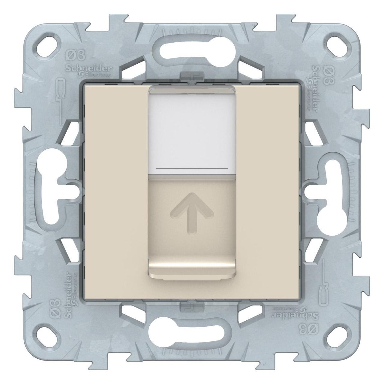 Розетка компьютерная 1-ая кат.6, RJ-45 (интернет) , Бежевый, серия Unica New, Schneider Electric