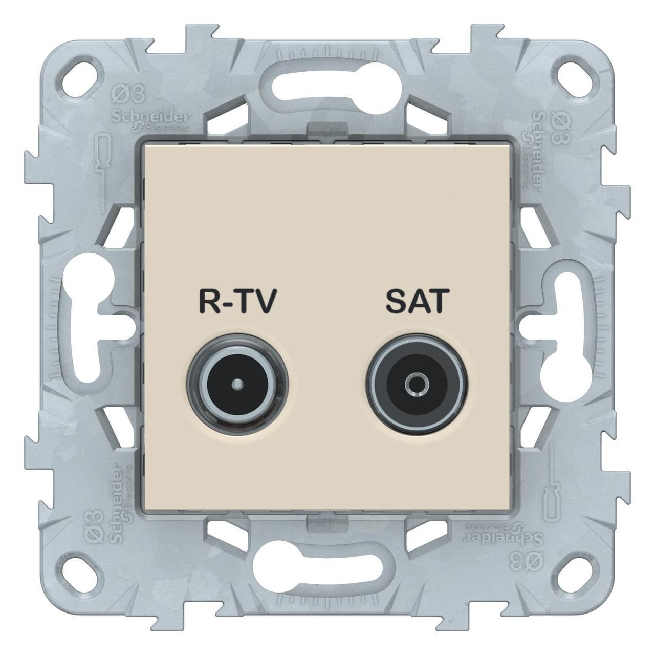 Розетка телевизионная единственная ТV-SAT , Бежевый, серия Unica New, Schneider Electric