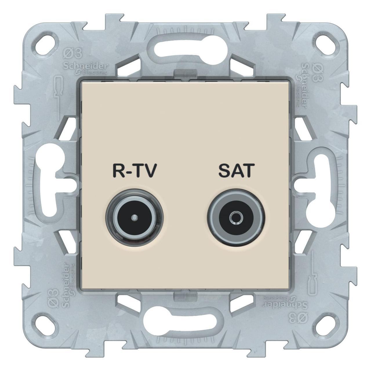 Розетка телевизионная оконечная ТV-SAT , Бежевый, серия Unica New, Schneider Electric