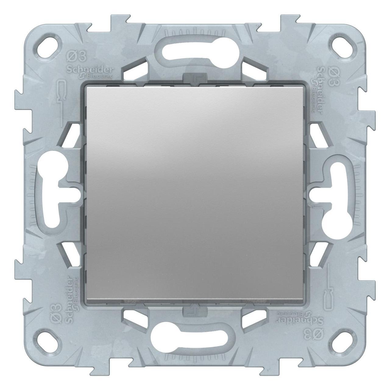 Выключатель 1-клавишный, перекрестный (с трех мест) , Алюминий, серия Unica New, Schneider Electric