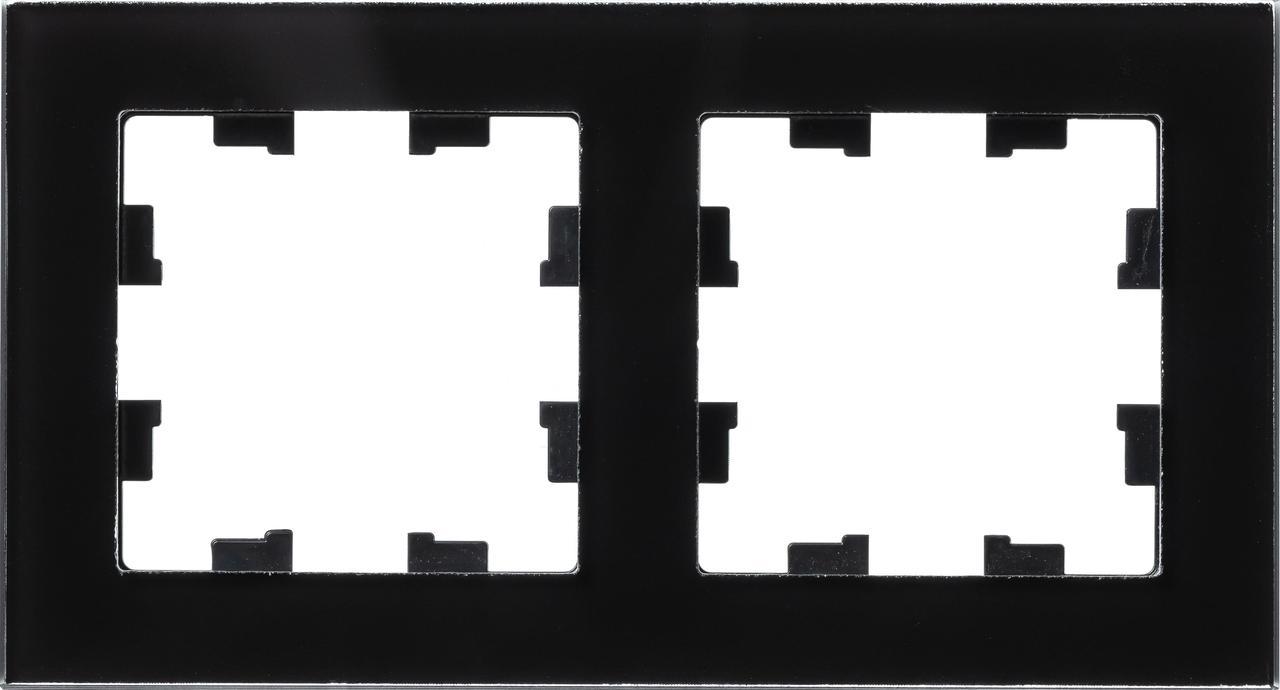Рамка 2-ая (двойная), Стекло Черное, серия Atlas Design Nature, Schneider Electric