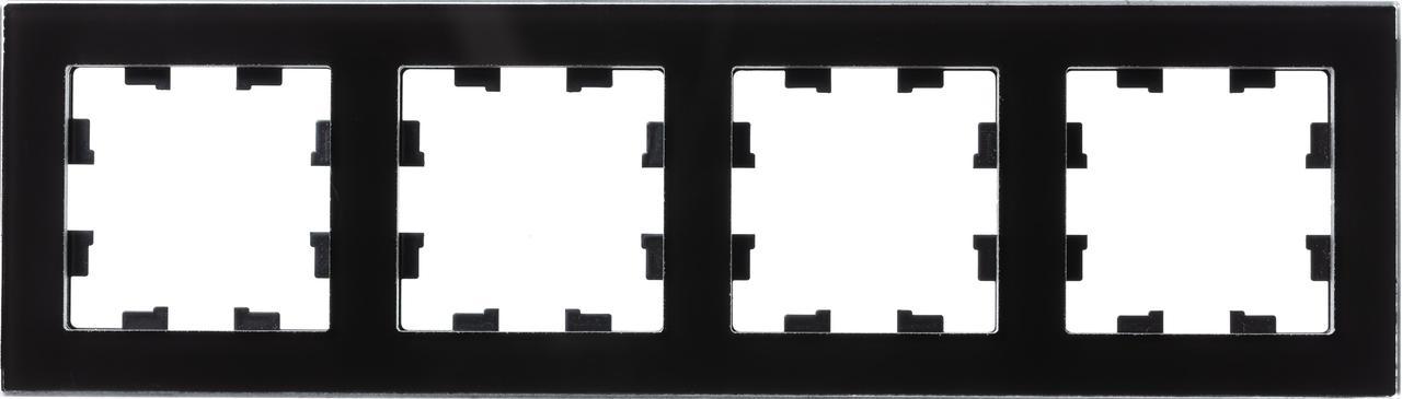Рамка 4-ая (четверная), Стекло Черное, серия Atlas Design Nature, Schneider Electric