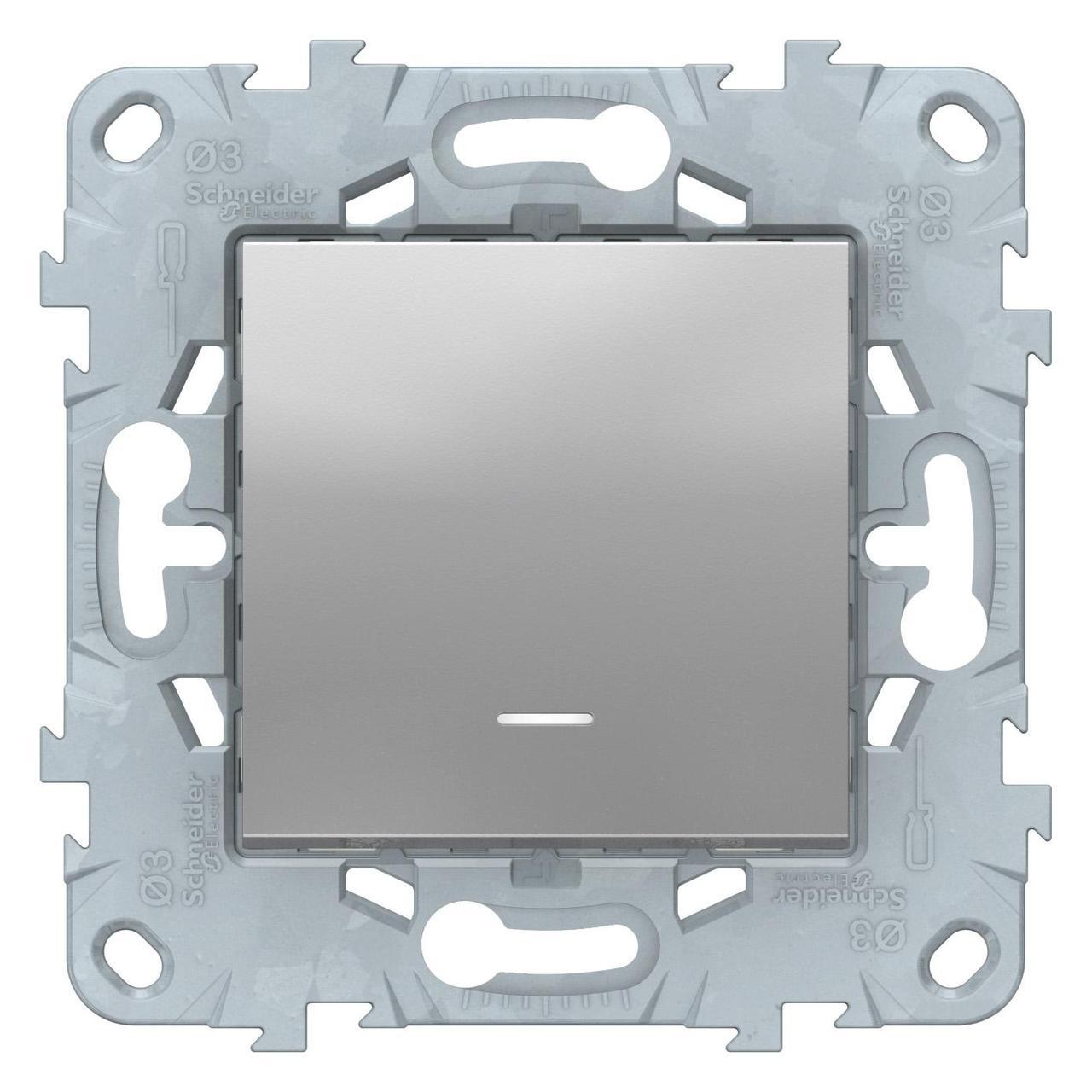 Выключатель 1-клавишный, перекрестный с подсветкой (с трех мест) , Алюминий, серия Unica New, Schneider