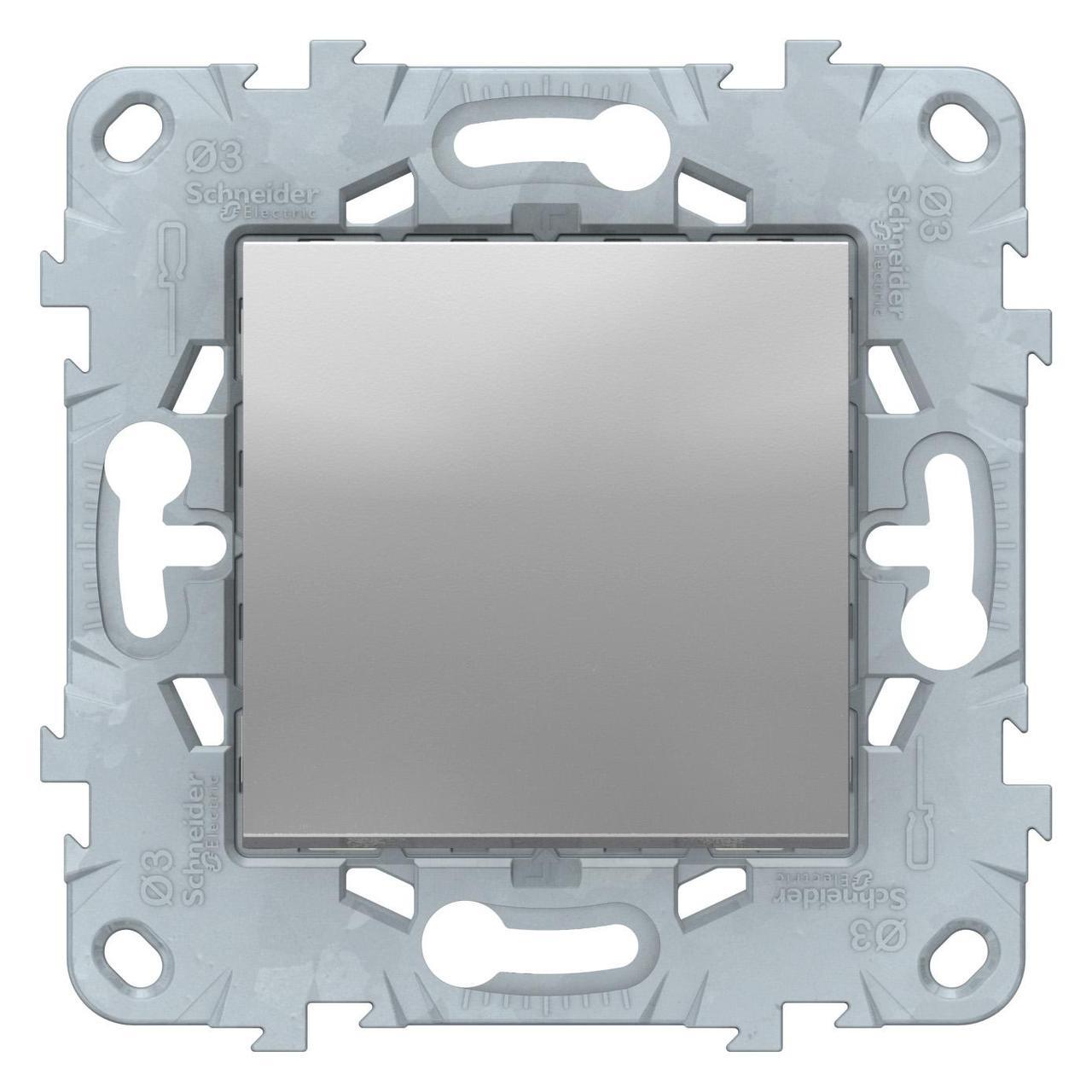 Выключатель 1-клавишный; кнопочный , Алюминий, серия Unica New, Schneider Electric