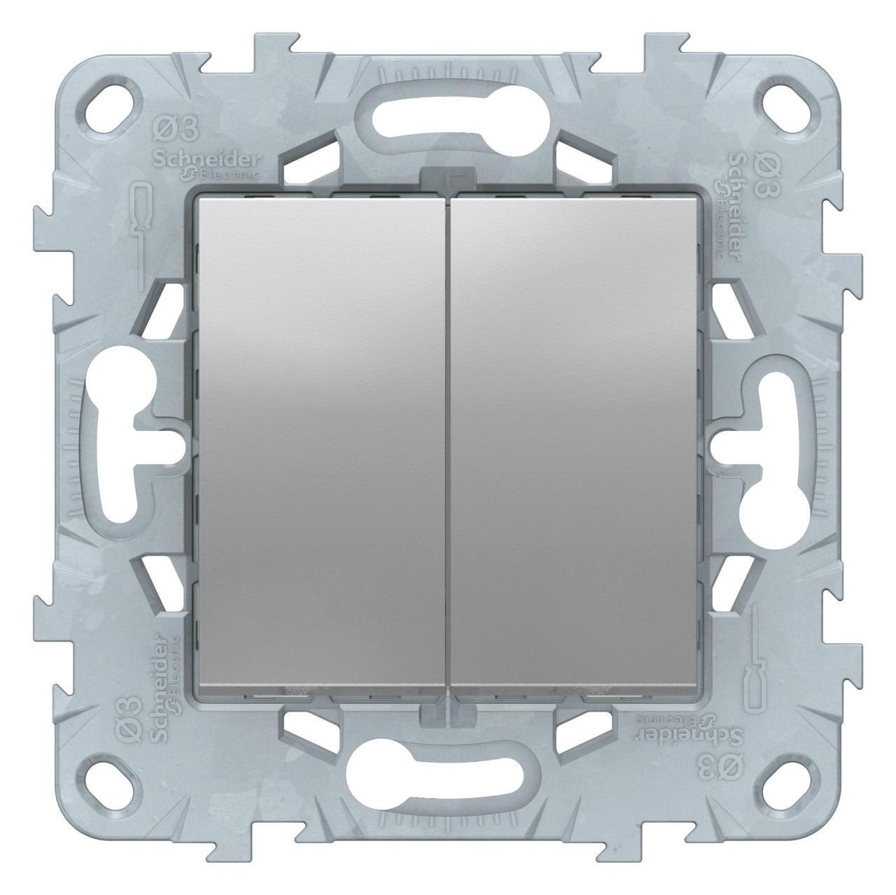 Выключатель 2-клавишный проходной (с двух мест) , Алюминий, серия Unica New, Schneider Electric